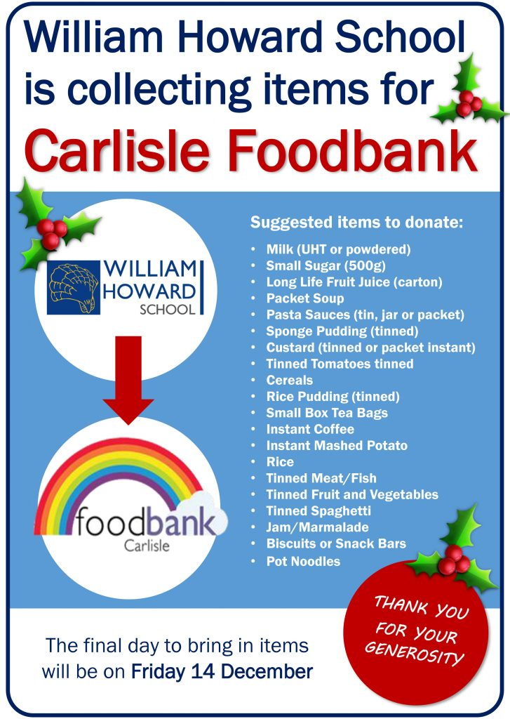 We Are Collecting For Carlisle Foodbank William Howard School